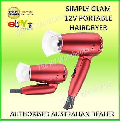 Portable New Simply Glam Hairdryer 12v Red Car Caravan Camping Boat Parts RV