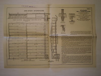 ANTIQUE 1904 ONE-STORY STOREHOUSE BUILDING FLOOR PLAN for FIRE PREVENTION