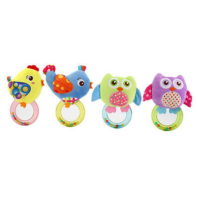 Baby Rattle Hand Bell Toy Owl Bird Chicken Animals Plush Baby Rattle Handbell XP