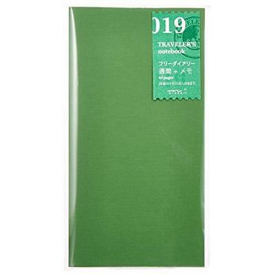 1 X Midori Traveler's Notebook (Refill 019) Free Diary Weekly and Memo (28 New