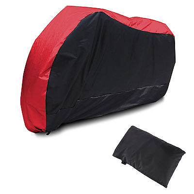 L Waterproof Vented Motorcycle Motor Bike Scooter Dust Rain Cover Red + black