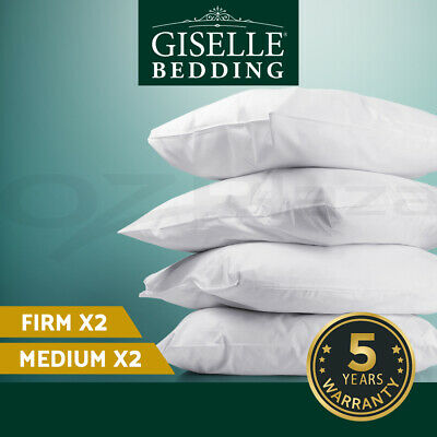 Family Hotel 4 Pack Bed Pillows Soft Medium Firm Cotton Cover 48X73CM Brand New