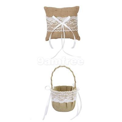 Burlap Lace Flower Basket With Ring Bearer Pillow Rustic Wedding Party Decor