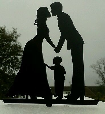 Our stunning silhouette Bride & Groom WITH LITTLE BOY Wedding cake Toppers