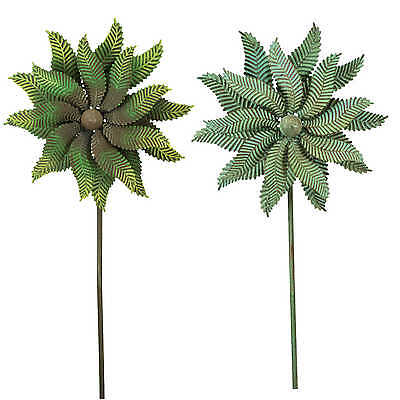 e2e Spinning Green Verdigris Metal Garden Wind Spinner Windmill Ornament Flower
