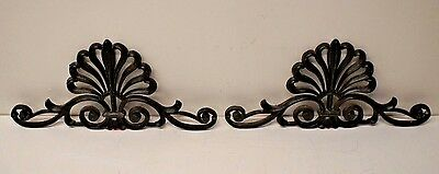 "Antique Pair of 22"" Cast Iron Medallions Victorian Scrollwork Decorative Fence"
