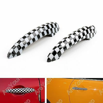 Checkered Pattern Design Door Handle Cover For Mini Cooper R50 R52 R53 R55 R56 D