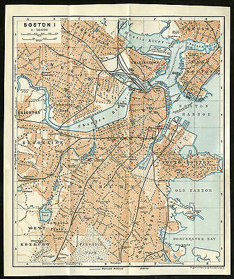 Antique Map-BOSTON-USA-Karl Baedeker-Wagner & Debes-1904
