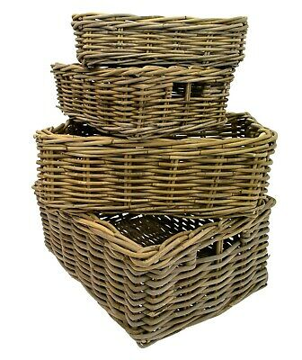 e2e Grey Kubu Rattan Wicker Strong Shallow Storage Shelf Display Fruit Basket