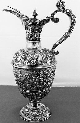 Fantastic English Sterling Silver Claret Jug  With Mask Heads And Animals, 1876