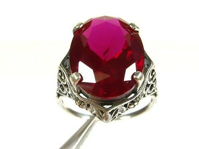 10ct Oval Cut Lab Ruby Victorian Deco 925 Sterling Silver Filigree Ring s7 106a