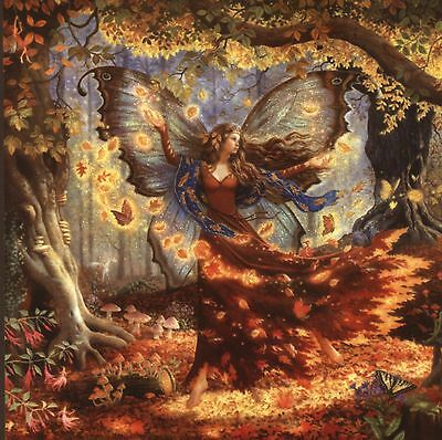 """""""fall Fairy"""" Dancing In Falling Leaves And Tiny Fairies,birthday Greeting Card"""