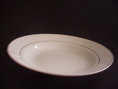 Soup/cereal Bowl - White With Gold Bands - Modern