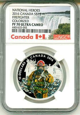 2016 S$15 Canada National Heroes Firefighter Colorized NGC PF70 Ultra Cameo