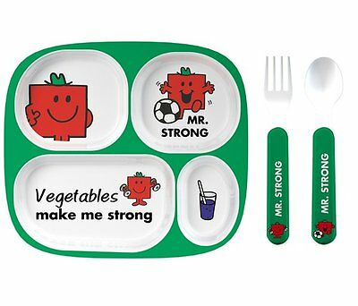Mr Men MR STRONG MELAMINE 4pc DINNER SET Cutlery Divider Tray Plate Cup