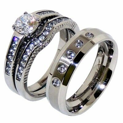 His Hers 3 PCS Clear CZ Stainless Steel Wedding Set w/ Mens Matching 5 CZs Band