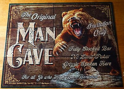 MAN CAVE GRIZZLY BEAR Vintage Style Wood Background Cabin Home Decor Tin Sign