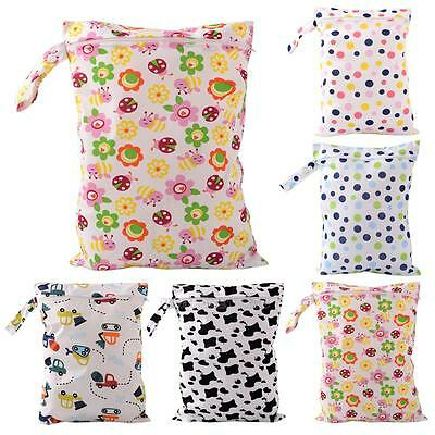 Baby Protable Nappy Reusable Wet Dry Cloth Zipper Waterproof Diaper Bag Cute