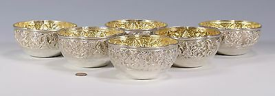 6 pcs Kutch India Solid Silver HAND CRAFTED BOWLS C.1880 Calcutta Bengal