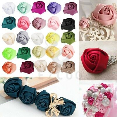 10pcs 25mm Rose Satin Ribbon Flower Bows DIY Wedding Appliques CARN0033