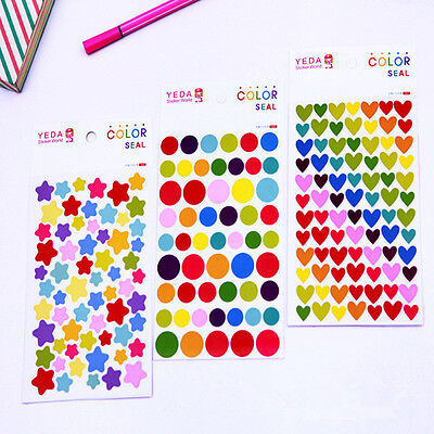 6 Pcs Album Scrapbook Calendar Diary Planner Heart Star Stickers Decor CA