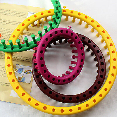 1 Set New Round Knitting Loom Knit Multi-Color Plastic 4 Looms Hook Needle Hat