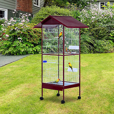 Large Parrot Cage Cockatiels African Macaw Parakeet Aviary on wheels with Stand