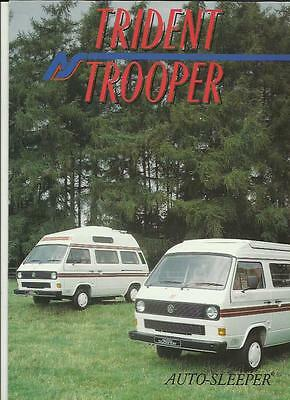 Vw Volkswagen Auto-Sleeper Trident & Trooper Motorhome Sales Brochure 1989 1990