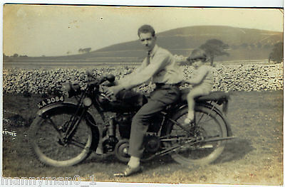 Vintage 1920 Rare Real Photo Postcard of a Vintage British Motorcycle