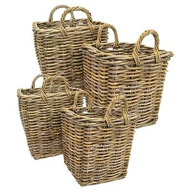 E2e Grey Kubu Rattan Strong Square Storage Kindling Log Basket