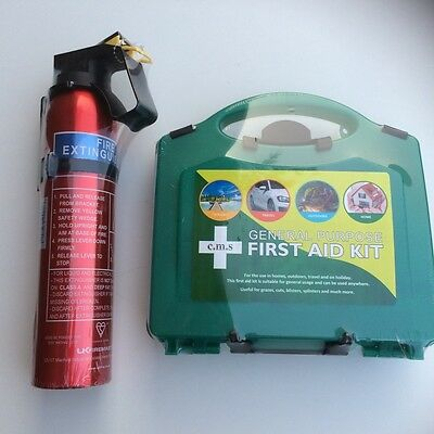 Cms 40 Piece First Aid Kit And 600G.dry Powder Fire Extinguisher Home Office Car