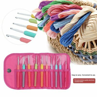 New Colorful TPR Soft Handle Aluminum Crochet Hooks Knitting Needles Set RX