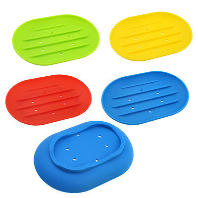 Silicon Soap Dish Water Bathroom Silicone Soap Box Storage Holder Plate Drain RX