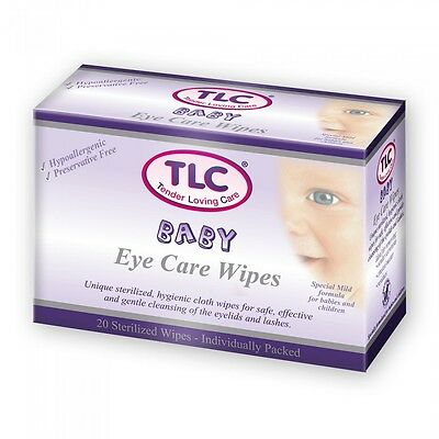 Tender Loving Care TLC Baby Eye Care Wipes 20 Pack Gentle Safe Cleansing Wipes