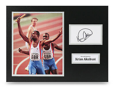 Kriss Akabusi Signed 16x12 Photo Olympic Sprinter Autograph Display Memorabilia