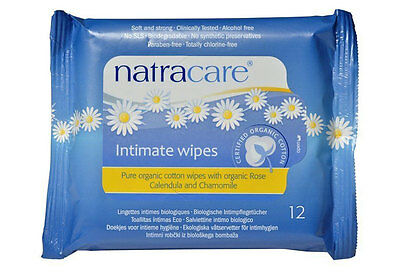 Natracare Organic Intimate Feminine Fresh Wipes Pack of 12 Totally Chlorine Free