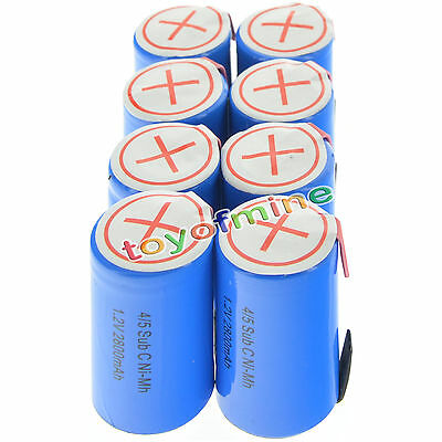 8 pcs 4/5 SubC Sub C 2800mAh 1.2V Ni-Mh Rechargeable Battery Blue Cell with Tab