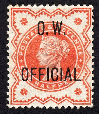 """SG O31 ½d vermilion. """" O.W. OFFICIAL """" lightly mounted mint"""