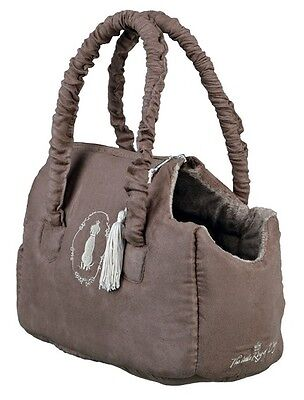 """Puppy Small S Tiny Fabric Dog Carry Tote Bag """"King Of Dogs"""" Size 2 Trixie Taupe"""