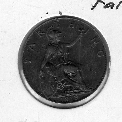 1913 Great Britain Farthing. Very nice looking coin. Includes Free shipping in U