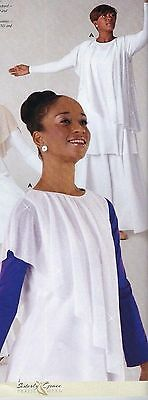 NWT Praise Top Liturgical White Tunic Glitter Silver Drape ch/ladies sizes 74076