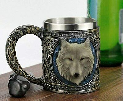 Alpha Gray Wolf Tribal Celtic Resin 16oz Mug With Stainless Steel Rim Figurine