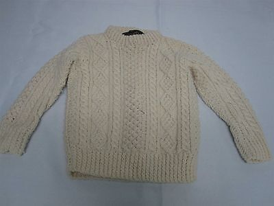 Vintage Cornel Hand Knit Ireland Toddler Childs Fisherman Knit Sweater Sz 2-3