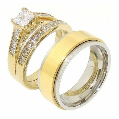3 PCS HIS HERS Princess CZ Gold Stainless Steel Wedding Set/ Mens Spinning Band
