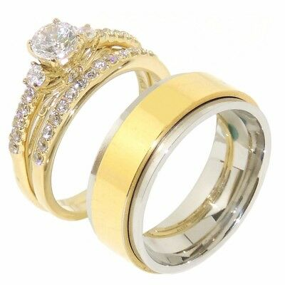 3 PCS Couple Round CZ Gold IP Stainless Steel Wedding SET/ Mens Spinning Band