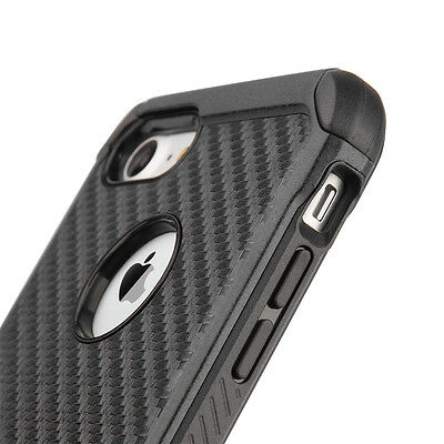 iPhone 7 / 8 - Black Carbon Fiber Hybrid Rugged Hard Armor Shockproof Case Cover
