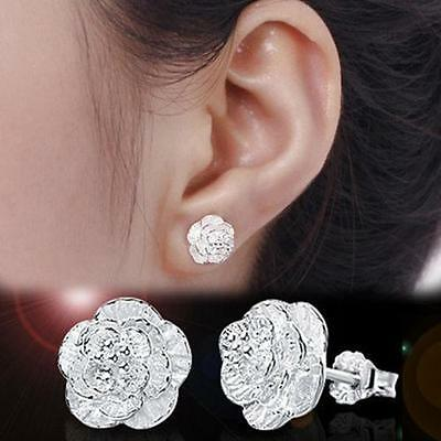 Flower Carved Fashion Silver Plated  Stud Earrings Jewelry Camellia Ear Stud