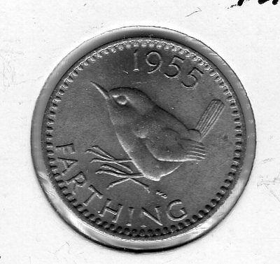 1955 Great Britain Farthing. Very nice looking coin. Includes Free shipping in U