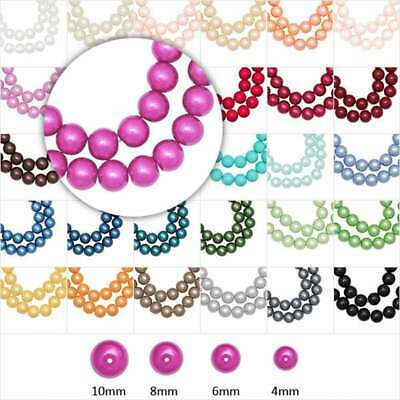 3/4/6/8/10/12/14mm Glass Pearl Beads Round Loose Beads Jewellry Making CAGP