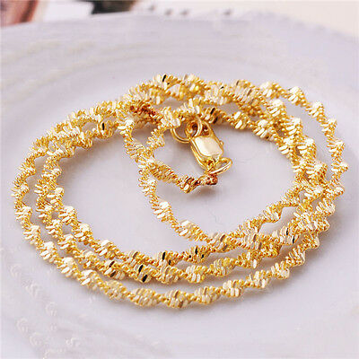 Vogue Charming Gold Filled Twisted Necklace Stylish Rope Chain Link Jewelry